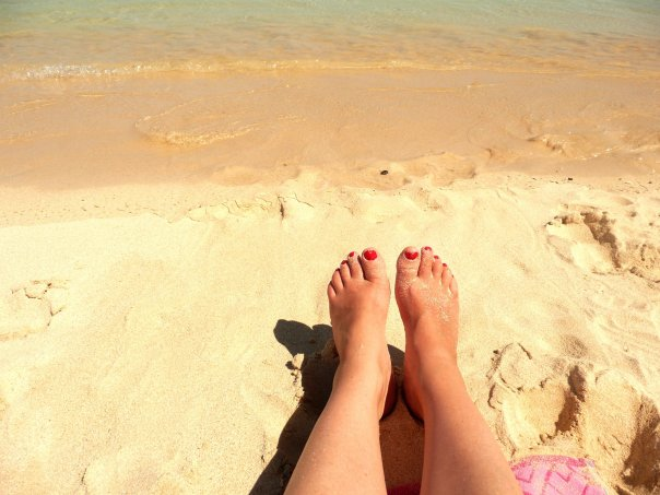 Yoga-legs and toes sand-Spain