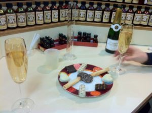 champagne and biscuits at the perfume school