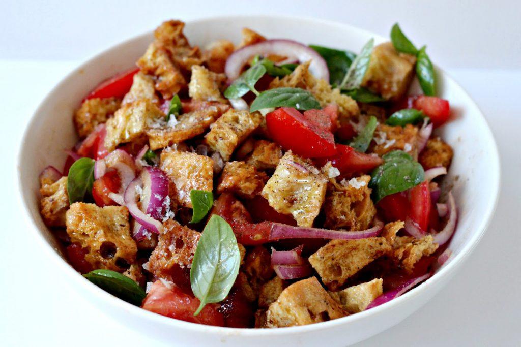 bowl of panzanella Italian salad