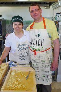 Making orecchiette pasta with an Italian chef
