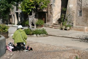 Painting-Languedoc-painter in village