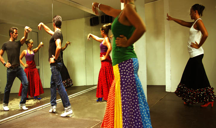 flamenco dance students in studio lesson in Spain