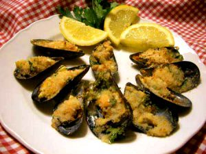 Italian cookery holiday in Sorrento, Italy - delicious cozze gratinate
