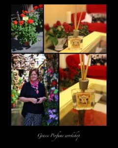 Collage of guest and perfume bottles on holiday
