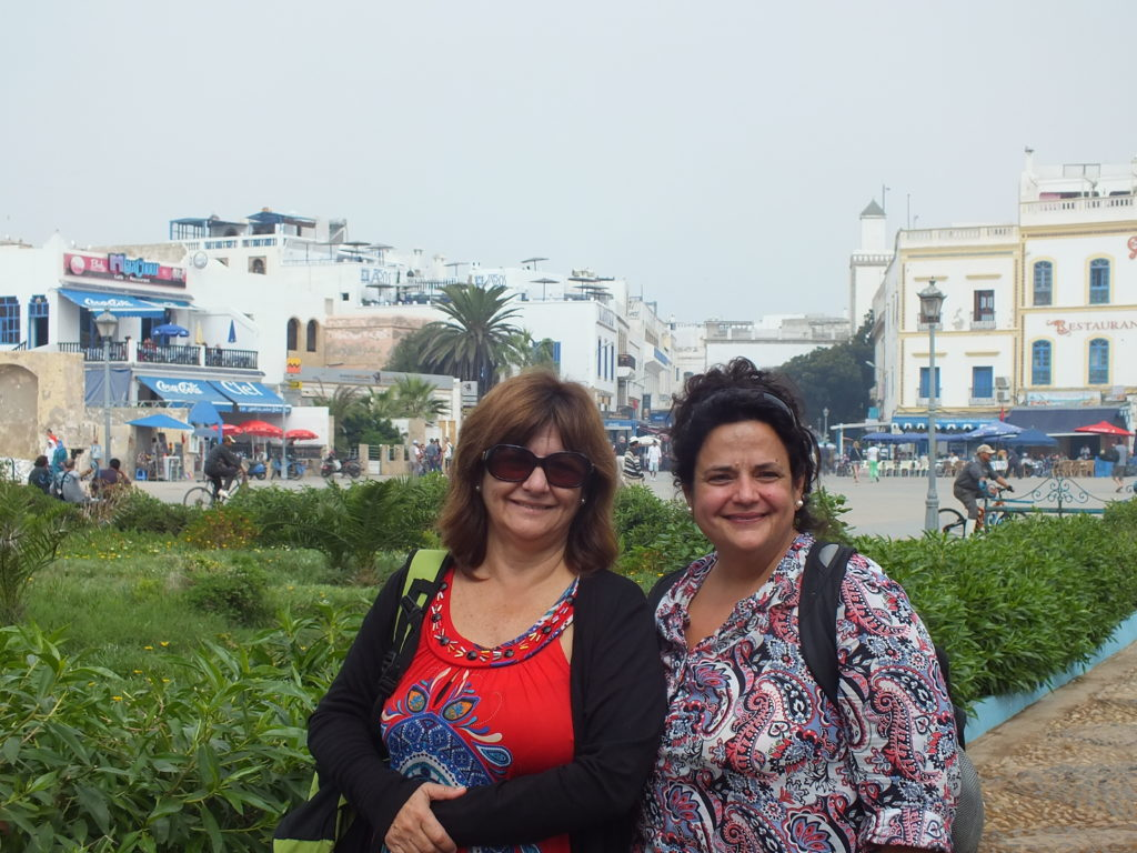 women on holiday in town of Essaouira in Morocco