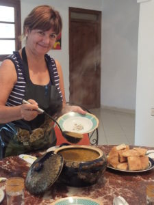 Cooking Moroccan dishes in the kitchen