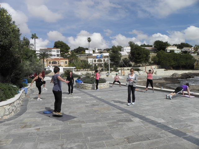 circuit training by the beach in Spain