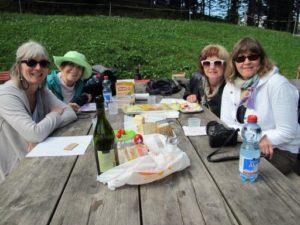 left to right - fiona, jean, helen, and lisa - picnicking half way down mt Pilatus Switzerland