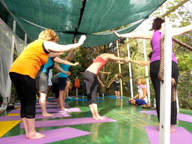 yoga class on outdoor platform