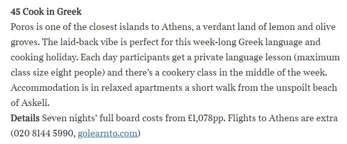 clipping of greek cooking holiday in the Sunday Times