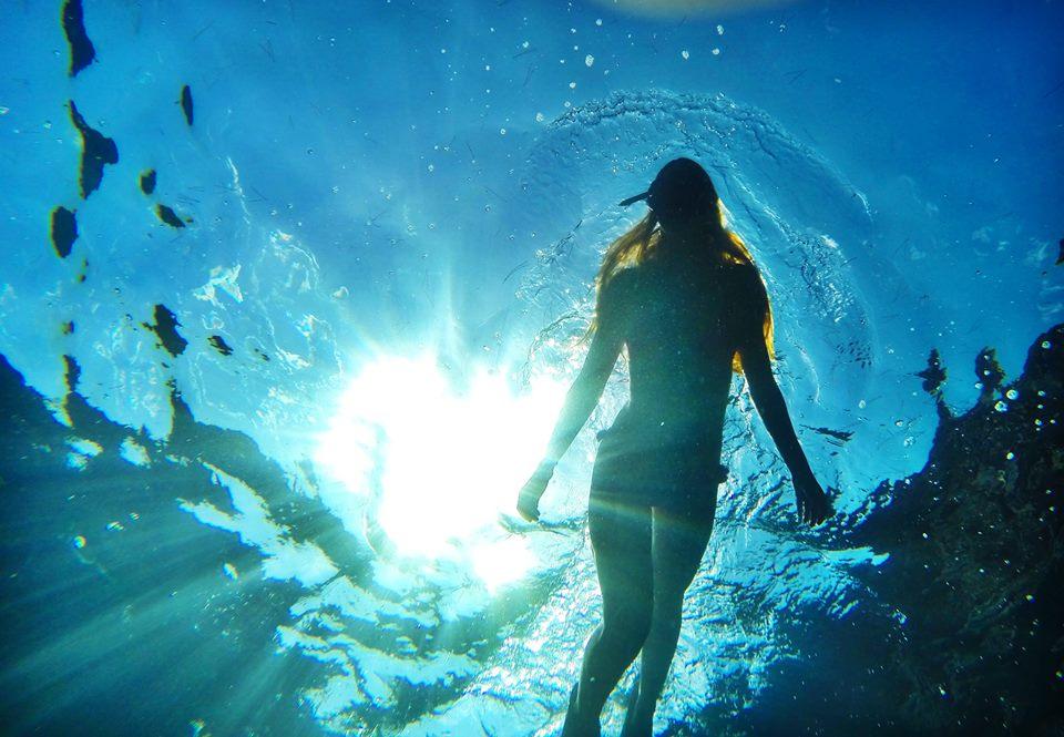 underwater girl swimming