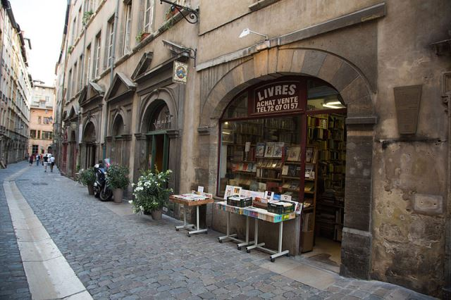 Bookstore front on narrow street in Lyon France