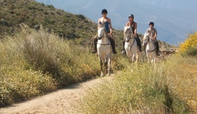 three women on holiday riding white horses in Andalucia