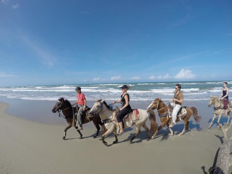 group of three horse riding on beach in Dominican Republic