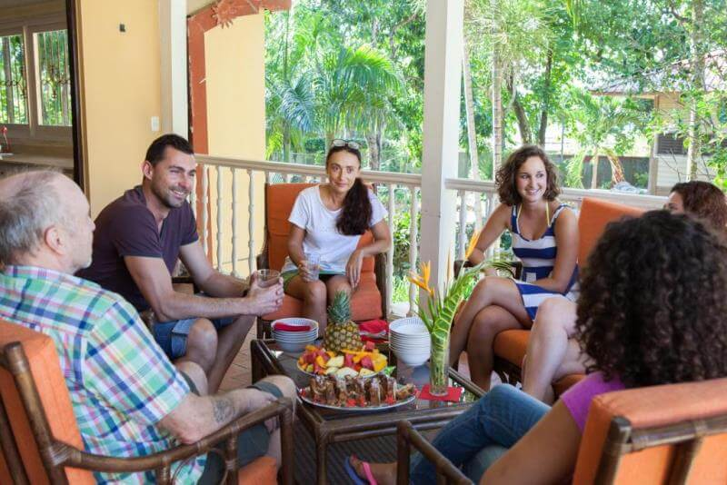language students on holiday chatting in Dominican Republic