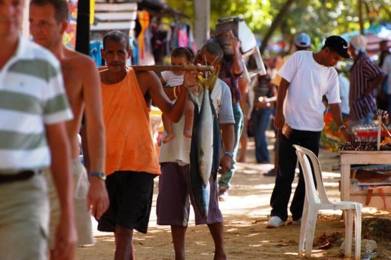 Locals at market in Dominican Republic