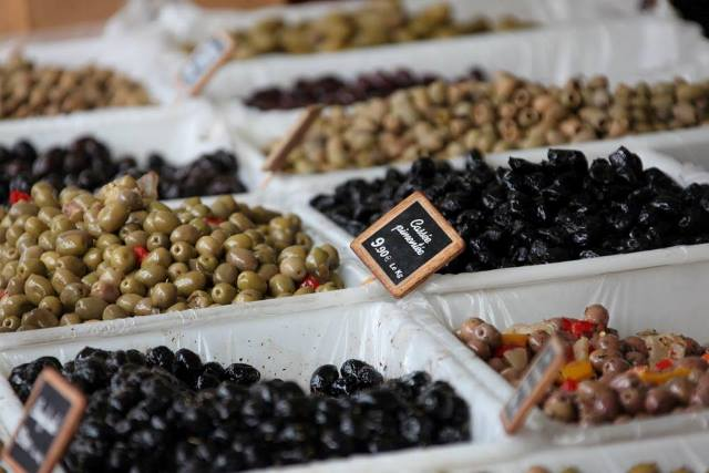 olives at the market in Saint Jeannet on holiday