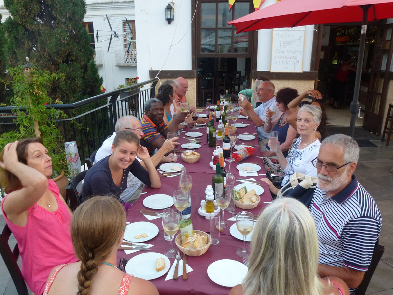 creative guests enjoying lunch together on holiday in restaurant