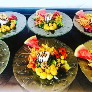 freshly prepared healthy salads for lunch on holiday