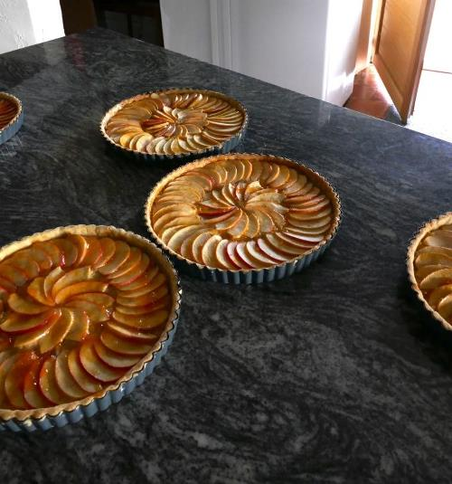 Tarte au pomme made on cooking holiday in France