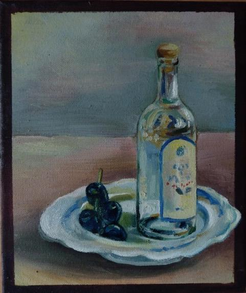 Oil painting for beginners of bottle of olive oil