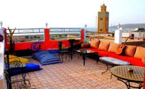 roof terrace on surf house in Morocco