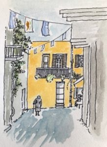 watercolour painting of Greek street with old woman