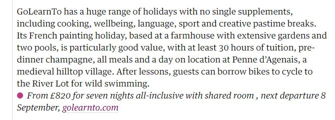 snippet of Guardian article about French painting holiday