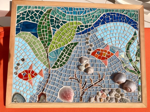 sea scene mosaic made on holiday in Turkey