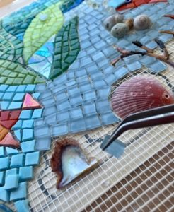 placing mosaic tile in unfinished piece