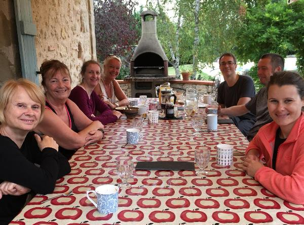 Pilates holidays guests sat around table in France