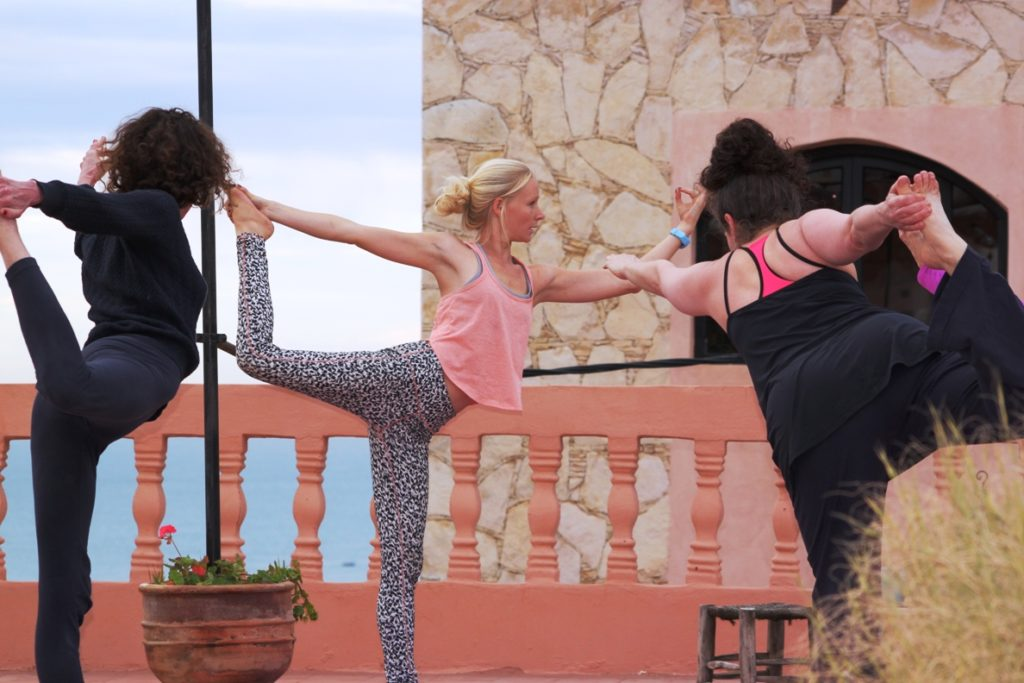 yoga lesson outside on Moroccan holiday