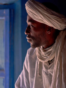 Local man in Morocco wearing traditional white clothes