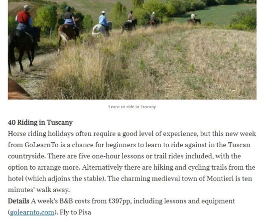 Times article text snippet about horse riding holiday in Tuscany
