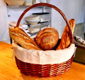Basket of sourdough bread on kitchen table