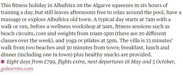 Guardian snippet about fitness holiday in Portugal