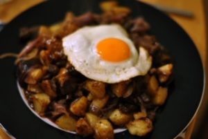 Chef Poul's leftover special with beef and potatoes
