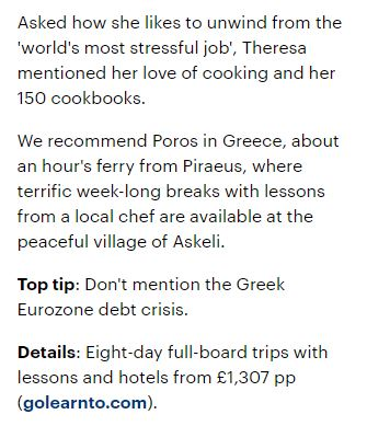 Snippet from Daily Mail article recommending Greek cookery holiday