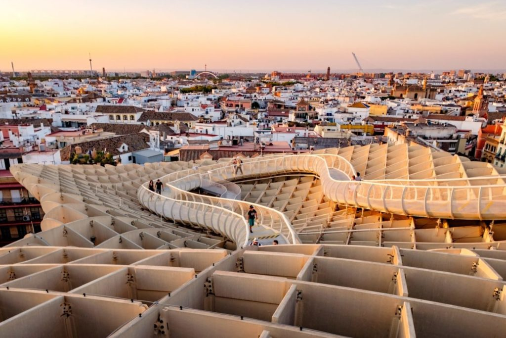 view from metropol parasol in seville