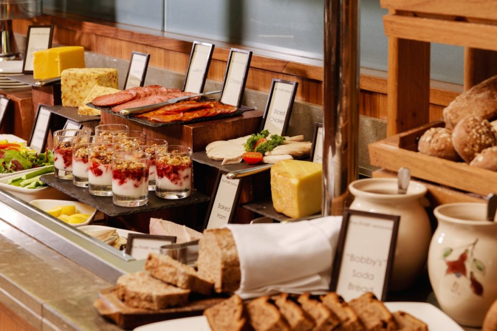breakfast at hotel accommodation on hiking tour