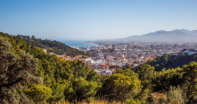 View of Malaga city and beach from the surrounding green hills
