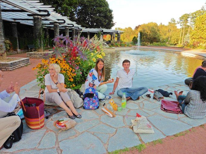 language students having picnic in Lyon park