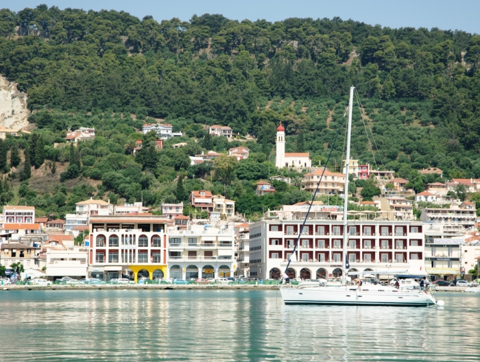 boat leaving the harbour in Zakynthos