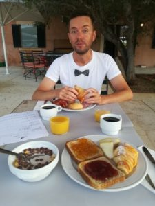 horse rider enjoys breakfast in Majorca