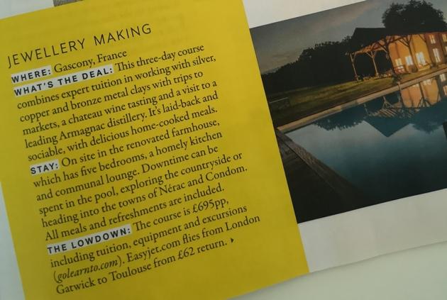 Grazia magazine snippet of jewellery making holiday