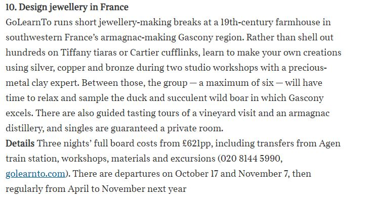 snippet from Times article about jewellery making break in France