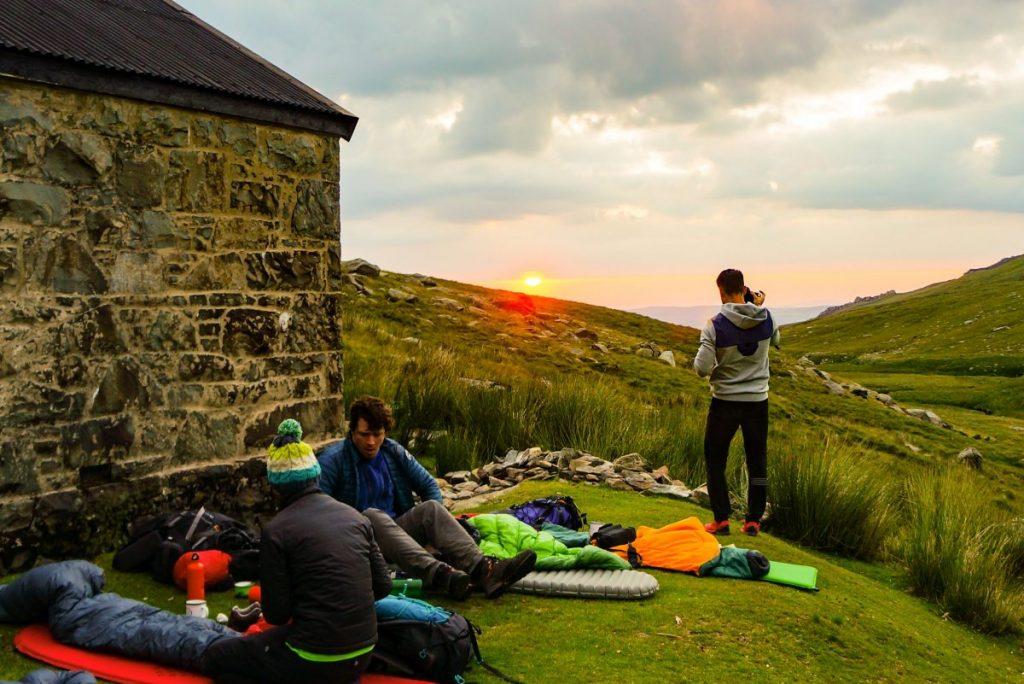 wild camping at sunrise