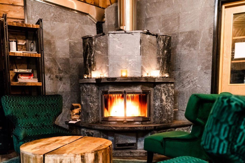open fire in resort restaurant