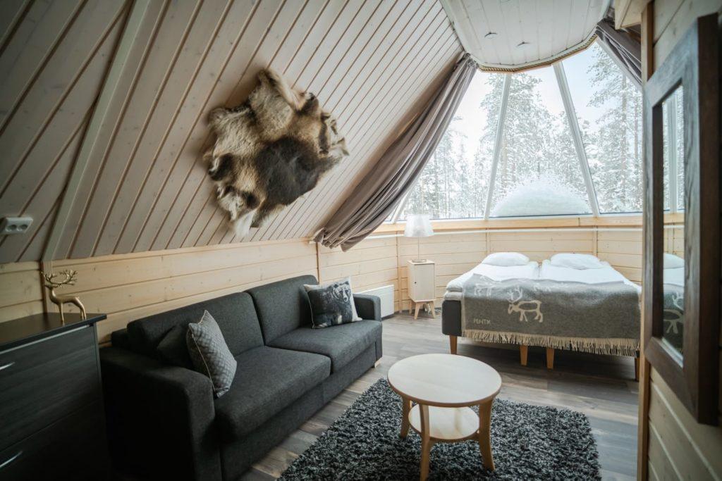 inside hut accommodation in finland