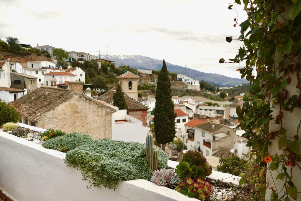 view from balcony over Saleres in Spain